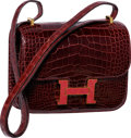 Luxury Accessories:Bags, Hermes Limited Edition 18cm Shiny Bordeaux Alligator & Rouge HLizard Double Gusset Marquette Constance Bag with Gold Hardware...