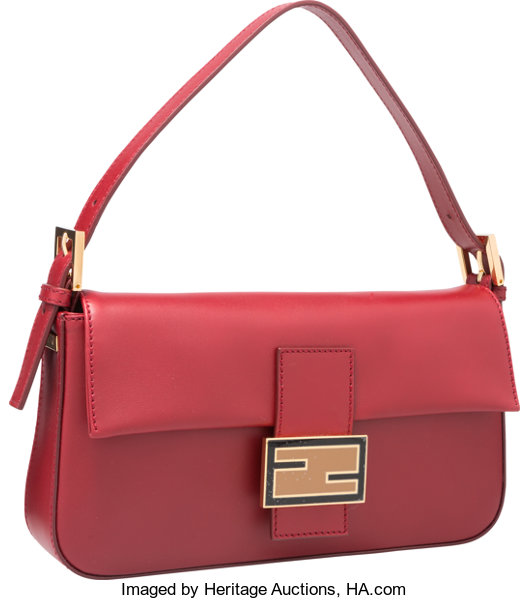 33f02df7 Fendi Red Leather Baguette Bag with Gold Hardware. | Lot #58425 ...