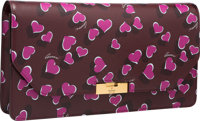 "Gucci Burgundy Heart Print Leather Clutch Bag Pristine Condition 11.25"" Width x 6"" Height x 1.5"""