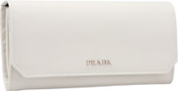 "Prada Ivory Saffiano Leather Wallet Pristine Condition 7.5"" Width x 3.5"" Height x 1"" Depth"