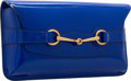 """Luxury Accessories:Bags, Gucci Zaffiro Blue Patent Leather Horsebit Clutch Bag. Excellent to Pristine Condition. 12"""" Width x 6.5"""" Height x 2"""" D..."""
