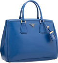 """Luxury Accessories:Bags, Prada Blue Patent Saffiano Leather Tote Bag. Very Good toExcellent Condition. 14"""" Width x 10"""" Height x 5.5""""Depth. ..."""