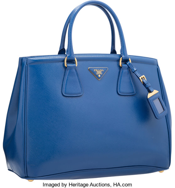 52f7108134dc Very Good toExcellent; Luxury Accessories:Bags, Prada Blue Patent Saffiano Leather  Tote Bag.