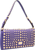 """Luxury Accessories:Bags, Dolce & Gabbana Purple Leather Shoulder Bag with Gold Hardware.Excellent to Pristine Condition. 12"""" Width x 6.5""""Heig..."""