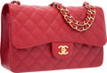 "Luxury Accessories:Bags, Chanel Red Quilted Caviar Leather Jumbo Double Flap Bag with GoldHardware. Pristine Condition. 12"" Width x 8"" Height..."