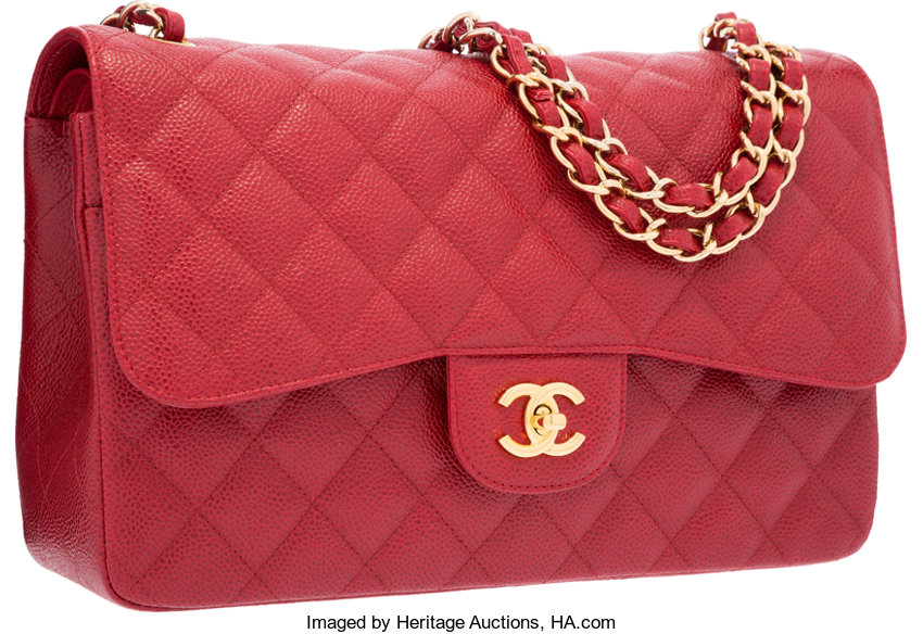 dec75e047026 Chanel Red Quilted Caviar Leather Jumbo Double Flap Bag with