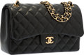 "Luxury Accessories:Bags, Chanel Black Quilted Lambskin Leather Jumbo Double Flap Bag withGold Hardware. Excellent Condition. 12"" Width x 8""He..."
