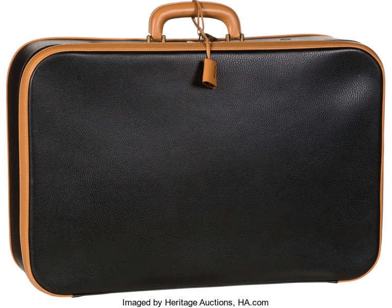 1094d6926de ... Luxury Accessories:Travel/Trunks, Hermes 55cm Black Ardennes & Vache  Naturelle Leather ...