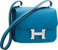 Luxury Accessories:Bags, Hermes 18cm Blue Izmir Epsom Leather Double Gusset Constance Bag with Palladium Hardware. T, 2015. Pristine Condition...