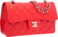 "Luxury Accessories:Bags, Chanel Red Quilted Lambskin Leather Medium Double Flap Bag withSilver Hardware . Excellent Condition . 10"" Width x6""..."