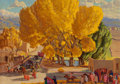 Paintings, Ernest Leonard Blumenschein (American, 1874-1960). Cottonwoods in the Square. Oil on canvas. 17-3/4 x 24 inches (45.1 x ...