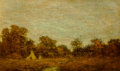 Fine Art - Painting, American:Antique  (Pre 1900), Ralph Albert Blakelock (American, 1847-1919). Encampment atSunset. Oil on canvas. 9 x 15 inches (22.9 x 38.1 cm). Signe...