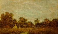 Ralph Albert Blakelock (American, 1847-1919) Encampment at Sunset Oil on canvas 9 x 15 inches (22