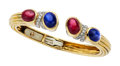 Estate Jewelry:Bracelets, Ruby, Sapphire, Diamond, Platinum, Gold Bracelet, David Webb. ...