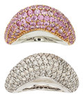 Estate Jewelry:Rings, Diamond, Pink Sapphire, Gold Rings. ... (Total: 2 Items)
