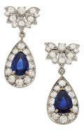 Estate Jewelry:Earrings, Sapphire, Diamond, White Gold Earrings. ... (Total: 2 Items)
