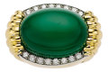Estate Jewelry:Rings, Chrysoprase, Diamond, Platinum, Gold Ring. ...