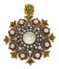 Estate Jewelry:Pendants and Lockets, Diamond, Moonstone, Garnet, Gold Pendant-Brooch. ...