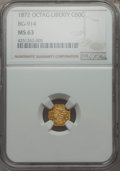 California Fractional Gold , 1872 50C Liberty Octagonal 50 Cents, BG-914, R.4, MS63 NGC. NGCCensus: (4/5). PCGS Population (23/13). ...