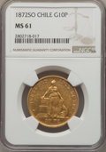 Chile, Chile: Republic gold 10 Pesos 1872-So MS61 NGC,...