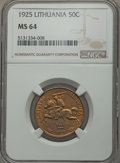 Lithuania, Lithuania: Republic 50 Centu 1925 MS64 NGC,...