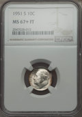 Roosevelt Dimes, 1951-S 10C MS67+ Full Bands NGC. NGC Census: (75/1 and 3/0+). PCGS Population (59/7 and 7/0+). Mintage: 31,630,000. Numisme...