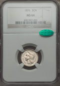 Three Cent Nickels: , 1876 3CN MS64 NGC. CAC. NGC Census: (34/19). PCGS Population (51/45). Mintage: 160,800. Numismedia Wsl. Price for problem f...