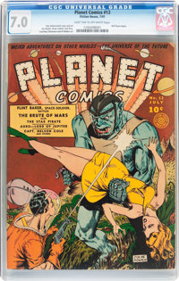 Planet Comics #13 (Fiction House, 1941) CGC FN/VF 7.0 Light tan to off-white pages