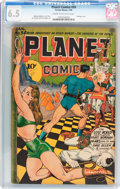 Golden Age (1938-1955):Science Fiction, Planet Comics #34 (Fiction House, 1945) CGC FN+ 6.5 Cream tooff-white pages....
