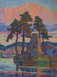 Birger Sandzén (American, 1871-1954) Lake at Sunset, Colorado, 1921 Oil on canvas 80 x 60 inches