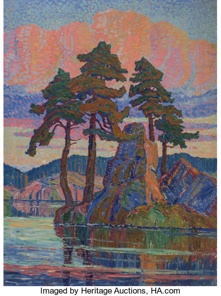 Birger Sandzén (American, 1871-1954) Lake at Sunset, Colorado, 1921 Oil on canvas 80 x 60 inches (203.2 x 152.4 cm) ...