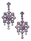 Estate Jewelry:Earrings, Multi-Color Sapphire, Diamond, White Gold Earrings. ... (Total: 2Items)
