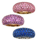 Estate Jewelry:Rings, Sapphire, Amethyst, Gold Rings. ... (Total: 3 Items)