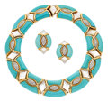 Estate Jewelry:Suites, Diamond, Turquoise, Mother-of-Pearl, Gold Jewelry Suite. ...(Total: 2 Items)
