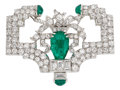 Estate Jewelry:Brooches - Pins, Art Deco Emerald, Diamond, Platinum, White Gold Brooch, Marcus & Co.. ...