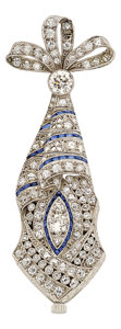Estate Jewelry:Watches, Art Deco Swiss Lady's Diamond, Sapphire, Platinum, White GoldPendant-Watch. ...