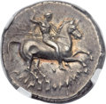 Ancients:Greek, Ancients: CALABRIA. Tarentum. Ca. 281-272 BC. AR didrachm or nomos(21mm, 7.88 gm, 9h)....