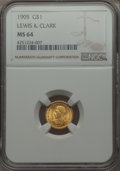 Commemorative Gold, 1905 G$1 Lewis and Clark Gold Dollar MS64 NGC....
