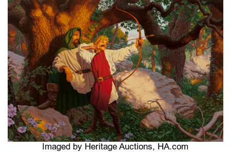 Raoul Vitale (American, b. 1955)Teaching Young Arthur, 2003Acrylic on board17.75 x 27 in. (sight)Signed lower le...