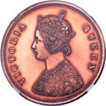 India:British India, India: British India. Victoria Original Proof 1/2 Anna 1862-(C) Proof Details (Altered Color) NGC,...