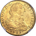 Colombia, Colombia: Charles IV gold 8 Escudos 1789 NR-JJ MS61 NGC,...