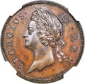 Ireland, Ireland: George II Proof 1/2 Penny 1736 PR66 Brown NGC,...