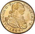 Colombia, Colombia: Charles IV gold 8 Escudos 1806 P-JF AU55 NGC,...