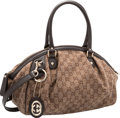"""Luxury Accessories:Bags, Gucci Brown GG Tweed Bowler Bag. Pristine Condition. 14""""Width x 8"""" Height x 7"""" Depth. ..."""