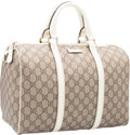 """Luxury Accessories:Bags, Gucci Brown & White Monogram Coated Canvas Boston Bag.Excellent Condition. 13"""" Width x 8.5"""" Height x 7"""" Depth. ..."""