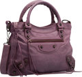 "Luxury Accessories:Bags, Balenciaga Murier Purple Lambskin Leather Classic First Bag.Excellent Condition. 13"" Width x 7.5"" Height x 2.5""Depth..."