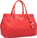 """Luxury Accessories:Bags, Prada Red Leather Tote Bag with Silver Hardware. ExcellentCondition. 14"""" Width x 10"""" Height x 8"""" Depth. ..."""