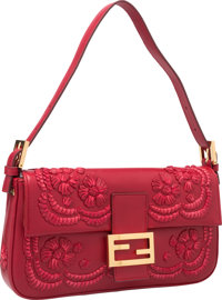 654bbb558a6a Fendi Red Leather Embellished Baguette Bag with Gold Hardware Excellent  Condition 10.5