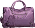 "Luxury Accessories:Bags, Balenciaga Metallic Purple Lambskin Leather Classic City Bag.Excellent Condition. 15"" Width x 9.5"" Height x 5.5""Dept..."
