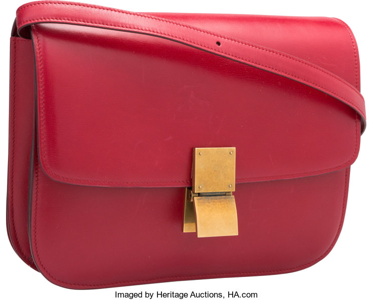 Celine Red Leather Box Bag with Gold Hardware. Good Condition.  5cb7956f8e788